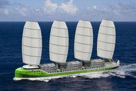 """Die niederländische Firma """"fair transport"""" baut derzeit ein Frachtschiff, das zu mindestens 50 Prozent per Windkraft angetrieben werden soll. Quelle: Grafik: Dykstra (idw)"""