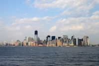 Die Skyline von Lower Manhattan aus der Ferne