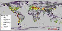 Der globale Risikoindex für Weinregionen Quelle: Abbildung: James Daniell/KIT (idw)