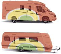 """Bei Reisemobil und Caravan gibt es ideale Ladezonen (grün). Hierher gehören schwere Gegenstände, die aber immer gut gegen Verrutschen zu sichern sind. Noch einigermaßen gut geeignet ist die gelbe Zone, um Ladung und Urlaubsutensilien zu verstauen. Im roten Bereich sollten nur leichte Gegenstände, wie beispielweise Kleidung, untergebracht werden. Bild: """"obs/GTÜ Gesellschaft für Technische Überwachung GmbH"""""""