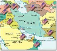 US-Militärbasen und Truppen um den Iran herum.