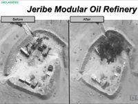 Eine weitere US-Aufnahme von einem Luftangriff auf die Jeribe-Ölraffinerie.