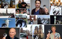 Dutzende Stars und Hunderte Menschen aus 38 Ländern schwenkten Survivals Awá-Symbol zur Unterstützung des bedrohten Volkes. Bild: © Survival