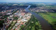 Luftaufnahme von Frankfurt (Oder) und Słubice von Süden