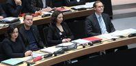 Dilek Kolat (SPD), Klaus Lederer (Die Linke), Ramona Pop (Bündnis 90/Die Grünen), Michael Müller (SPD) (2017)