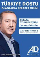 Wahlplakat Allianz Deutscher Demokraten mit dem Präsidenten Erdogan