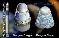 Falcon 9, Dragon-Kapsel als Frachtversion und als bemanntes Raumschiff. Bild: NASA
