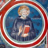 Benedikt von Nursia Fresko im Kloster von Subiaco, Umbrien, Italien, ca. 550 Bild: Gerd A.T. Müller / de.wikipedia.org