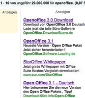 Rechte Seite der auf Google oben angezeigten Angebote für Openoffice. Bild: GoMoPa