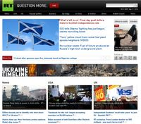 Screenshot der Webseite von Russia Today