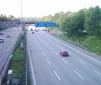 Die A7 in Hamburg nördlich des Elbtunnels.