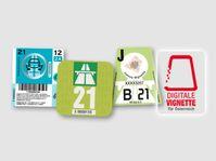 """Jahresvignetten 2021 für Slowenien, Österreich und die Schweiz sowie eine Digitale Vignette für Österreich Bild: """"obs/ADAC SE/ADAC Medien und Reise GmbH"""""""