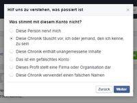 Meldesystem: soll User vor Fake-Accounts schützen. Bild: facebook.de