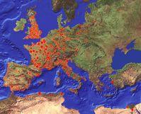 Karte mit 7'711 Pest-Ausbrüchen, die sich zwischen 1347 und 1900 AD in Europa ereigneten. Die Daten basieren auf einer im Jahr 1976 veröffentlichten Publikation. Quelle: Grafik: Christian Ginzler (WSL) (idw)