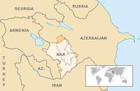 Karte von Armenien, Aserbaidschan und Bergkarabach (NKR); dunkel die von Aserbaidschan kontrollierten Gebiete Bergkarabachs
