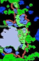 Karte Ostjerusalems; die blauen Punkte stellen israelische Siedlungen auf Palästinensergebiet dar. Bild: Kordas /