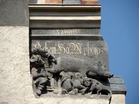"Lutherstadt Wittenberg - ""Judensau"" (um 1440) an der Stadtkirche St. Marien"