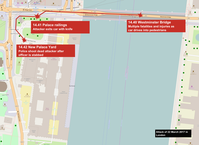 Verlauf des Angriffs und die Route des Attentäters auf dem Gelände des Westminster-Palastes