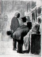 In der Gemäldegalerie, Zeichnung von Honoré Daumier