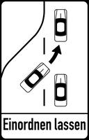 Österreichisches Hinweiszeichen 23c – Fahrstreifenverminderung
