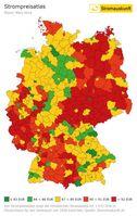Atlas für Strompreise in Deutschland. Der Atlas zeigt die monatlichen Strompreise des günstigsten Stromtarifes des lokalen Stromanbieters für 1437 Orte in Deutschland. Grundlage für die Berechnung sind die monatlichen Strompreise des lokalen Versorgers bei einem Jahresverbrauch von 3500 kWh. Quelle: www.stromauskunft.de