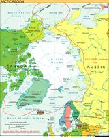 Die Arktis mit Polarkreis und der 10°-Juli-Isotherme (rote Linie)