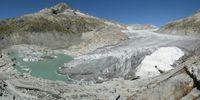 Der Rhonegletscher (Zustand Sept. 2012) in der Schweiz schmilzt aufgrund der Klimaerwärmung im rasanten Tempo ab. Quelle: de:Benutzer:ch ivk - Eigenes Werk, CC BY 3.0, (idw)
