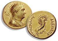 Goldmünze mit dem Porträt Ptomemaios' III. und einem Füllhorn aus der 2. Hälfte des 3. Jahrhunderts v. Chr. Quelle: © Numismatische Bilddatenbank Eichstätt (NBE)/Jürgen Malitz (idw)