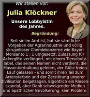 Julia Klöckner ist, wie ihre Vorgänger, in der Dauerkritik wegen der einseitigen Unterstützung der Agro-Pharmaindustrie.