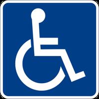 Internationales Zeichen für eine Zugangsmöglichkeit für behinderte Menschen (engl. International Symbol of Access)