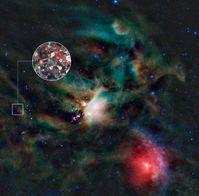 Zuckermoleküle in Gaswolken aus der Umgebung eines jungen Sterns Quelle: Bild: ALMA (ESO/NAOJ/NRAO)/L. Calçada (ESO) & NASA/JPL-Caltech/WISE Team (idw)