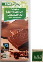 """REWE Bio Schweizer Edelvollmilchschokolade 100g LOT 1306064B. Bild: """"obs/SC Swiss commercial GmbH"""""""