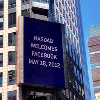 Facebook Wrbung am Thomson Reuters Gebäude zum Börsenstart.
