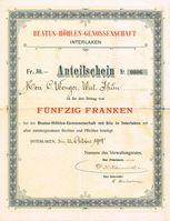 Anteilschein an der Beatus-Höhlen-Genossenschaft vom 12. Oktober 1904 (Symbolbild)