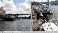 Auf dem Rhein hat am Donnerstagnachmittag ein Tankmotorschiff gebrannt. (Bild:WSP)