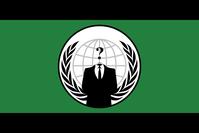 Eines der Erkennungszeichen von Anonymous als Flagge. Die kopflose Person im Anzug symbolisiert den führerlosen Charakter der Bewegung.