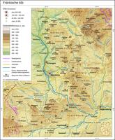Die Fränkische Alb, auch Frankenalb oder Fränkischer Jura oder Frankenjura genannt, ist ein bis 656,4 m ü. NN, in auswärtigen Ausläufern (Hesselberg) sogar bis 689,4 m ü. NN hohes Mittelgebirge, das zum Südwestdeutschen Schichtstufenland in Bayern gehört und die noch deutlich höhere Schwäbische Alb jenseits des Nördlinger Rieses nach Ostnordosten und schließlich nach Nordnordwesten verlängert.