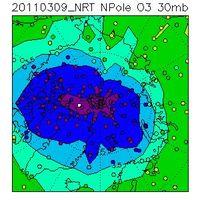 Das Bild vom 9.3.2011 zeigt einen sehr stark reduzierten Ozongehalt in der Stratosphäre über der Arktis (violett und blaue Farben entsprechen sehr geringen Ozonkonzentrationen). Der Ozonabbau hat erst vor kurzem begonnen und wird sich in den nächsten Wochen weiter beschleunigen, solange der polare Wirbel stabil bleibt. Quelle: Dr. A. Dudhia, Univ. of Oxford / KIT
