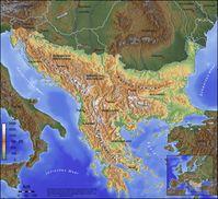 Eine Definition der Balkanhalbinsel mit der Nordwestabgrenzung Isonzo-Vipava-Postojna-Krka-Save, d.h. Grenze zw. Alpen und Dinarischem Gebirge