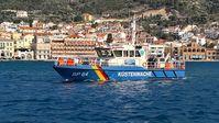 """Kontroll- und Streifenboot der Bundespolizei BP 64 """"Börde"""" im Hafen von Vathy/ Samos"""