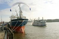 """Ein Beispiel des neuen Systems: Der Zugdrachen entfaltet auf dem MS """"Beluga SkySails"""".Bild: Beluga Shipping GmbH"""
