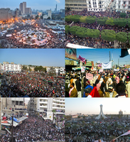 """Collage wichtiger Schauplätze im """"Arabischen Frühling"""". Im Uhrzeigersinn oben links beginnend: Proteste auf dem Tahrir-Platz in Ägypten, in Tunesien, im Jemen, in Bahrain, Syrien und Libyen"""