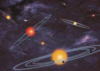 Schematische Darstellung der Bahnen in Planetensystemen, die mit der Transitmethode entdeckbar sind (NASA)