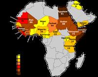 Regionale Verbreitung in Afrika (nach Daten von UNICEF, 2015)[71]