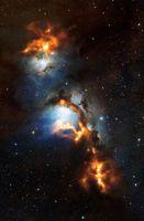 Kosmische Staubwolken in Messier 78 Quelle: Bild: ESO/APEX (MPIfR/ESO/OSO)/T. Stanke et al./Igor Chekalin/Digitized Sky Survey 2 (idw)