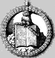 Symbol des Illuminaten Bundes: Die Eule der Minerva, auf einem Buche sitzend. Druckgraphik aus dem Jahr 1776