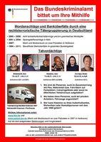 Fahdungsplakat zu den Ermittlungen gegen die Terrororganisation Nationalsozialistischer Untergrund. Bild: Deutsches Bundeskriminalamt