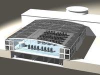 Der neue Platz des Superrechners JUBL selbst ist die moderne, freitragende Halle. Sie ist so ausgelegt, dass Sie flexibel auch kommenden Rechnergenerationen Platz bietet. Quelle: Forschungszentrum Jülich