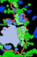 Karte Ostjerusalems; die blauen Punkte stellen israelische Siedlungen auf Palästinensergebiet dar