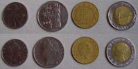 Von links nach rechts: 50, 100, 200 und 500 Lire (Italien)